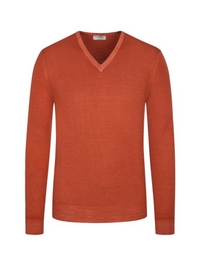 Pullover im Washed-Look, V-Neck in ROST