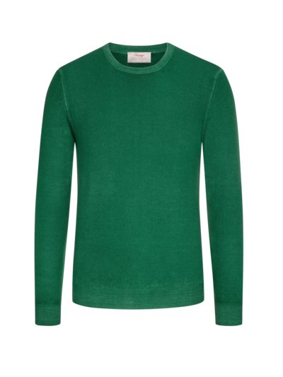 Pullover im Washed-Look, O-Neck in GRUEN