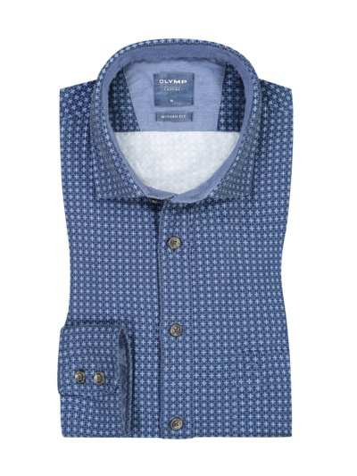 Casual Flanellhemd, Modern Fit in BLAU