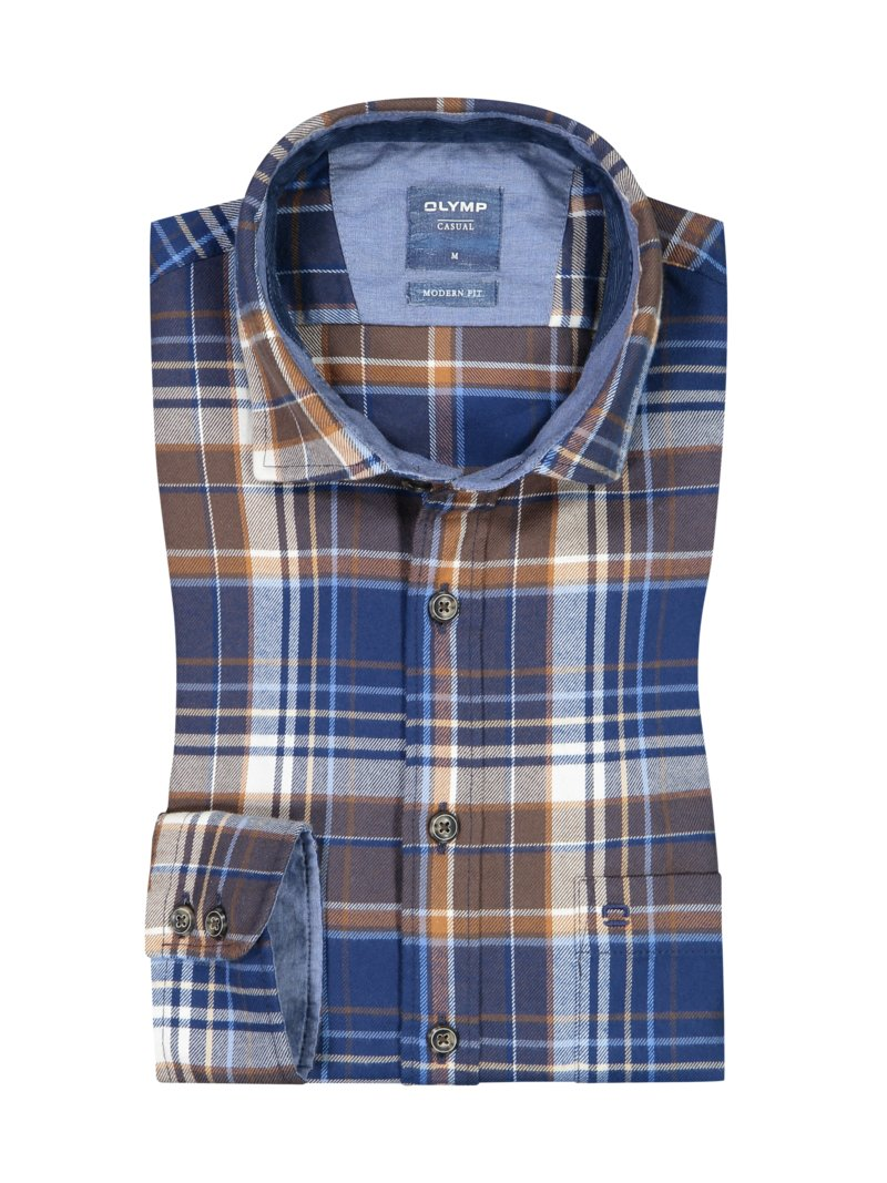 Casual Flanellhemd, Modern Fit in BRAUN