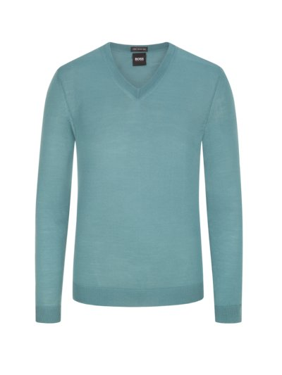 Pullover, V-Neck, in reiner Schurwolle in MINT