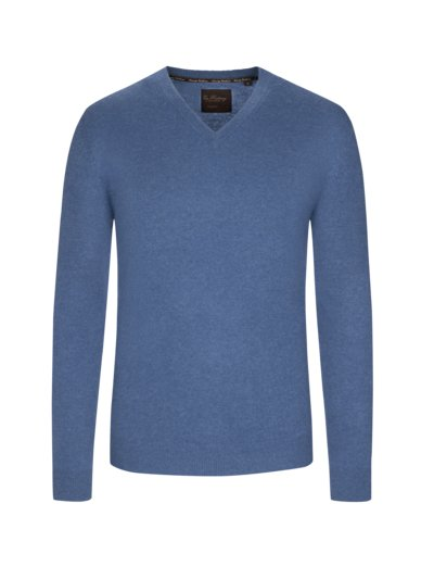 Pullover, V-Neck, in reinem Kaschmir in DENIM
