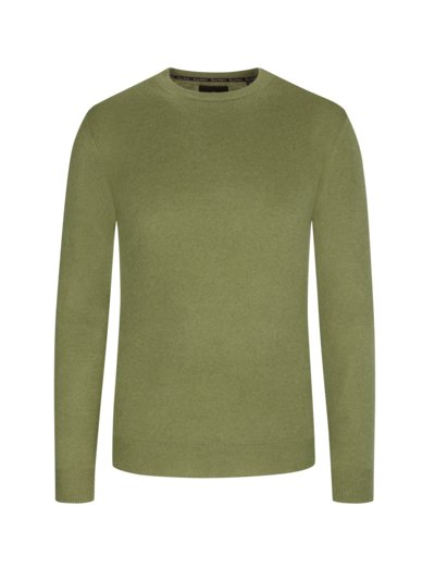Pullover, O-Neck, in reinem Kaschmir in OLIV