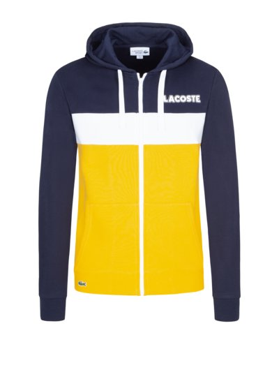 Sweatjacke mit Logo-Applikation in GELB