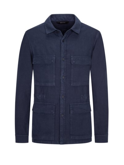 Overshirt in reinem Leinen in BLAU