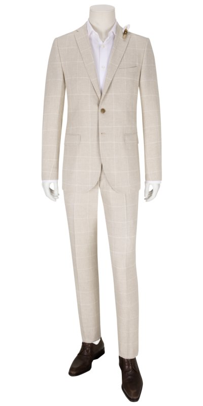 Businessanzug im Leinen-Mix, im Gitterkaro-Muster, Slim Fit in BEIGE