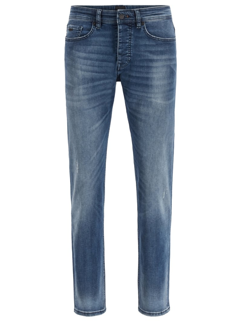 Jeans mit Stretchanteil, Tapered Fit in GRAU