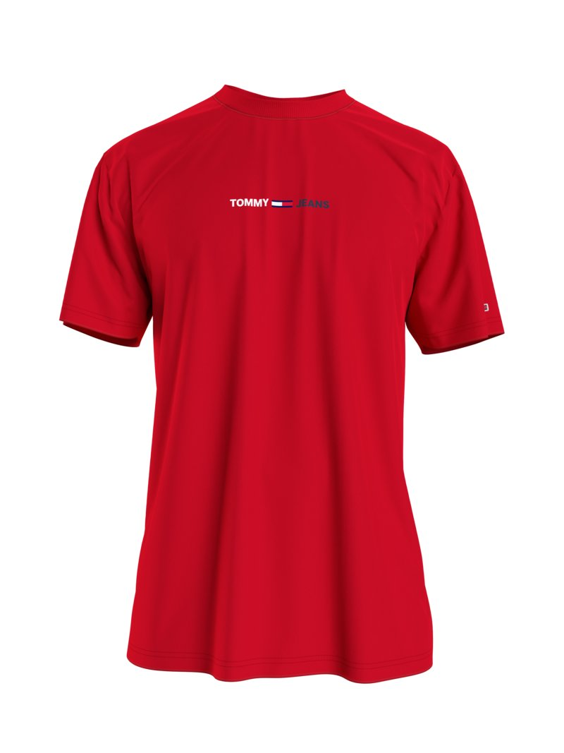T-Shirt mit Logo-Stickerei in ROT