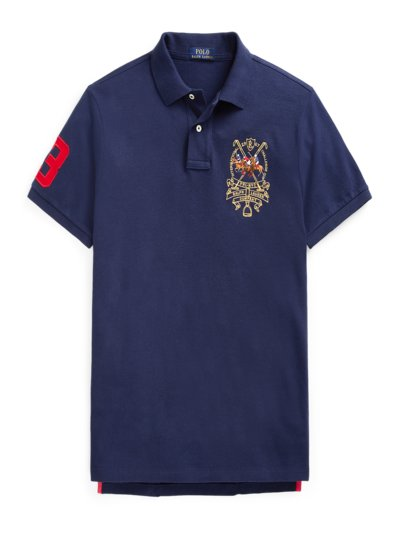 Poloshirt mit Stickerei, Custom Slim in MARINE