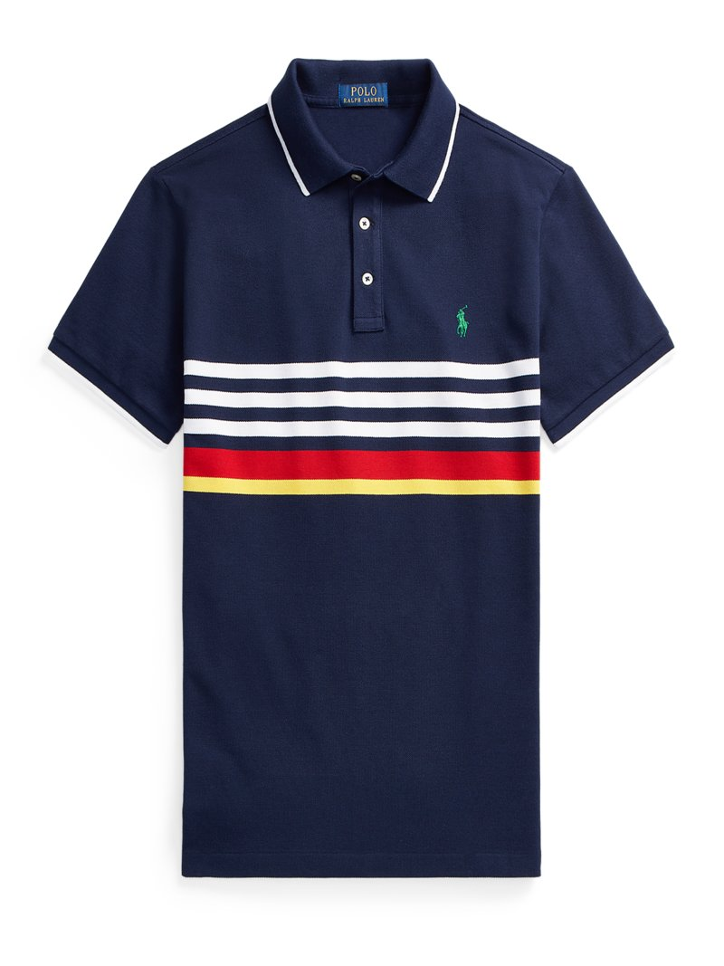 Poloshirt mit Ringelmuster, Custom Slim Fit in WEISS