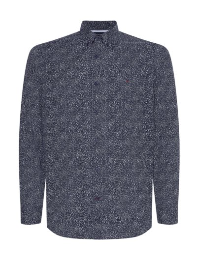 Hemd mit Muster, Slim Fit in MARINE