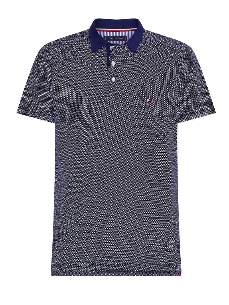 Poloshirt mit Muster, Slim Fit in MARINE