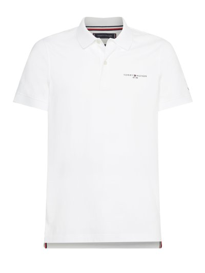 Poloshirt Logo-Applikation, Slim Fit in WEISS