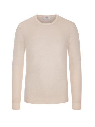 Pullover in Sommerwolle, O-Neck in BEIGE