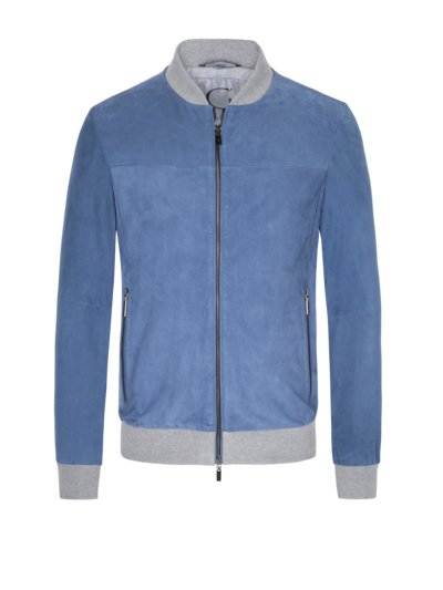 Blouson in perforiertem Veloursleder in HELLBLAU