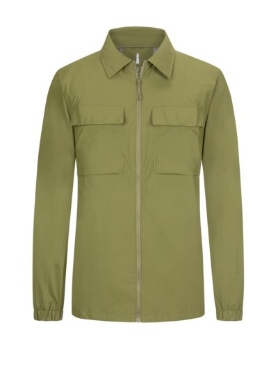 Regenjacke im Overshirt-Look in OLIV