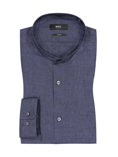 Hemd aus 100% Leinen, Slim Fit in BLAU