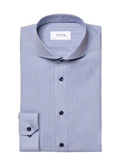 Hemd mit Muster, Super Slim Fit in BLAU