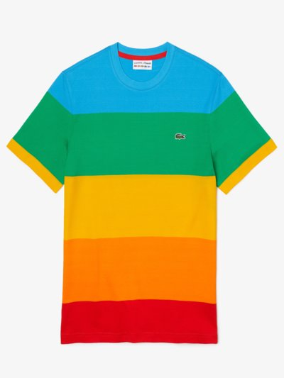 T-Shirt, O-Neck, mit Blockstreifen, Lacoste x Polaroid in BLAU