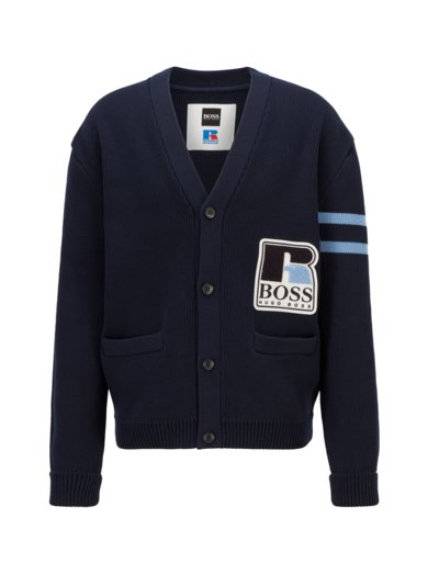 Strick-Cardigan im College-Look, Boss x Russell Athletic Kollektion in MARINE