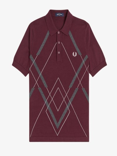 Poloshirt aus Strick mit Muster in BORDEAUX