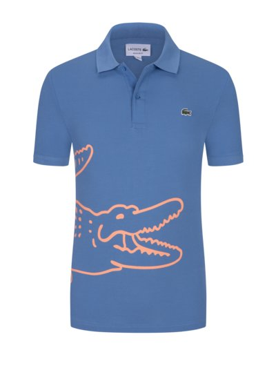 Poloshirt mit Print, Regular Fit in BLAU