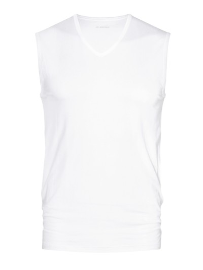 Muskelshirt mit V-Neck in WEISS