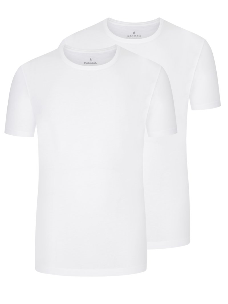 Doppelpack Rundhals T-Shirt, Body Fit in WEISS