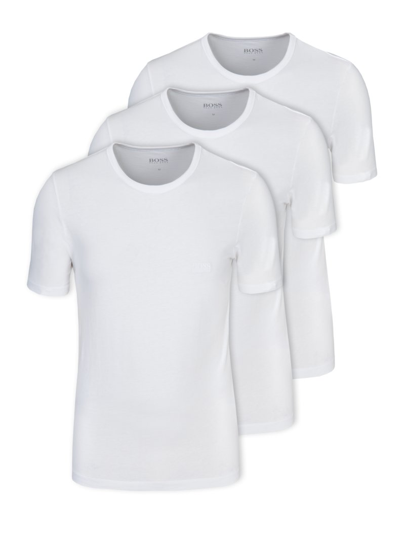 3er Pack Rundhals T-Shirt in WEISS