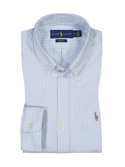 Gestreiftes Slim Fit Oxfordhemd in BLAU