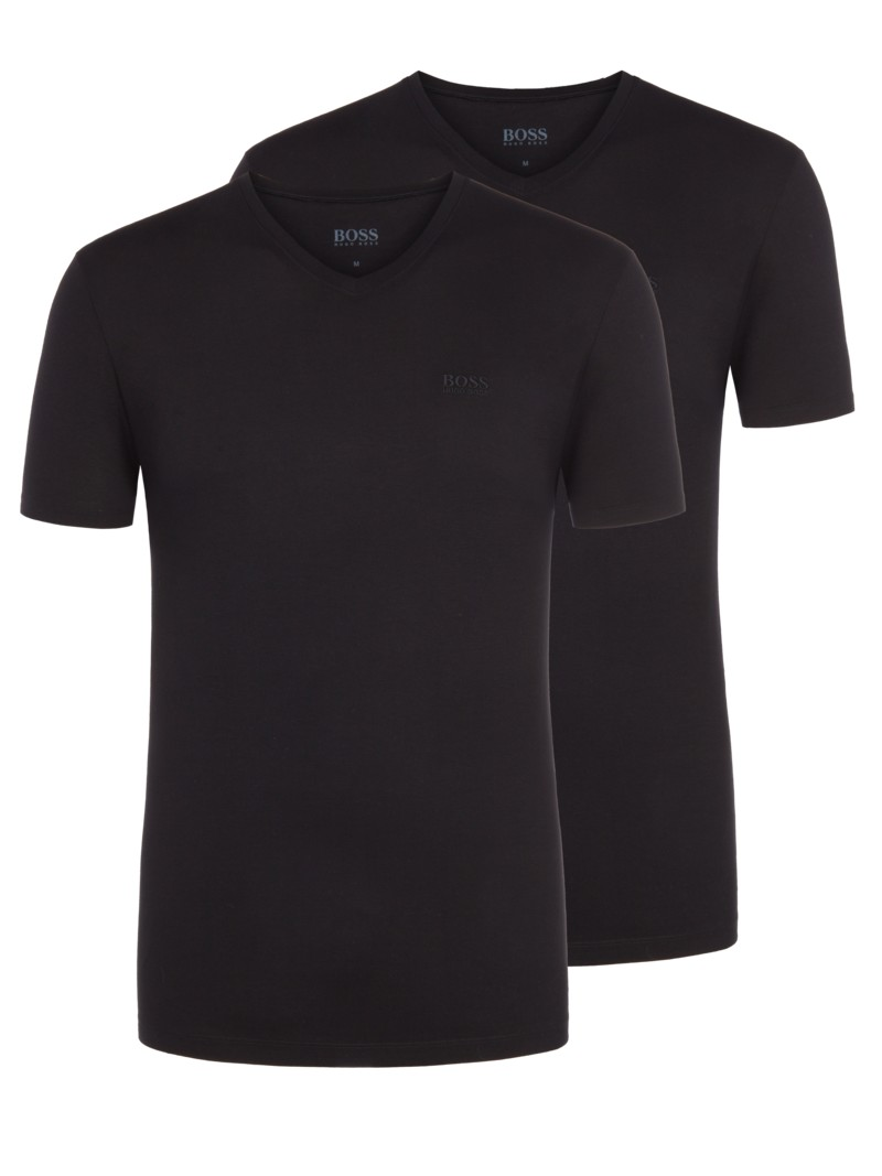 V-Neck T-Shirt im 2er Pack in SCHWARZ