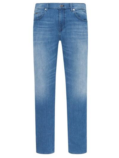 Regular Fit Jeans mit Auswaschungen in BLAU