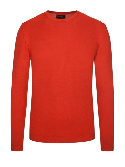 Slim Fit O-Neck Merinopullover in ORANGE