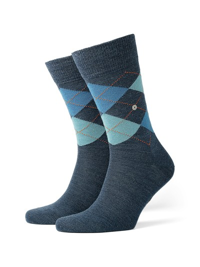 Socken aus Schurwolle, Argyle-Muster in DENIM