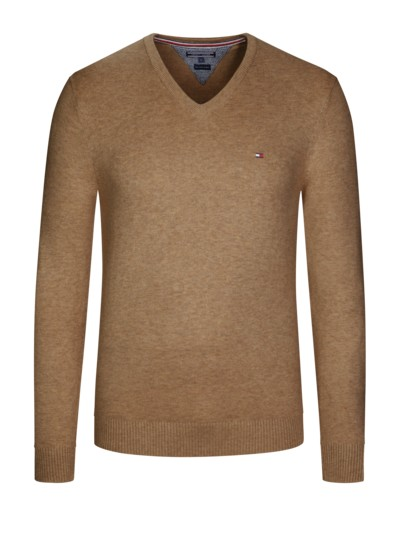 V-Neck Pullover, Cotton Cashmere in MESSING
