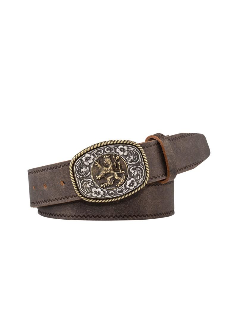 Trachtiger Ledergürtel im Vintage-Look von Töpfer in Dunkelbraun für Herren