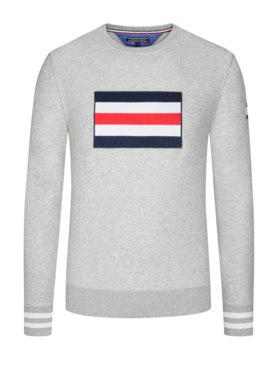 Sweatshirt mit Flaggenstickerei in GRAU