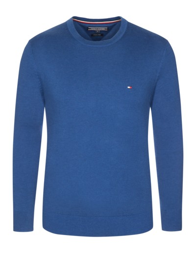 Feiner Pullover, Baumwolle-Seiden-Mix in ROYAL