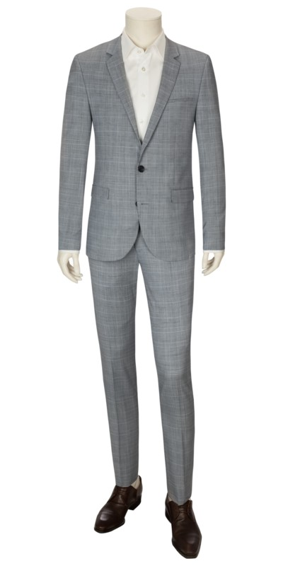 Extra Slim Fit Businessanzug, Prince Of Wales Check in HELLBLAU