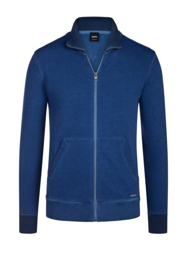 Sweatjacke im Washed-Look in MARINE
