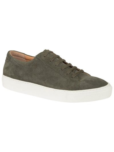 Eleganter Sneaker in Velours-Leder in GRAU