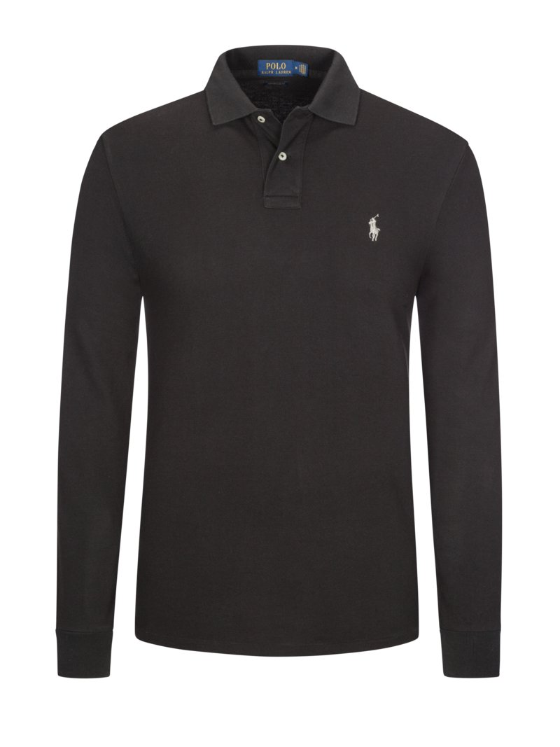 Custom Fit Langarm-Poloshirt in WEISS