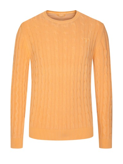 O-Neck Pullover mit Zopfmuster, Sunbleached in ORANGE