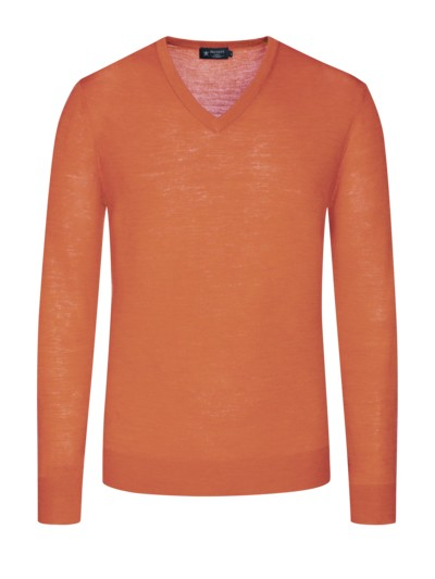 V-Neck Pullover, reine Merinowolle, Kontrast-Ellenbogenpatches in ORANGE