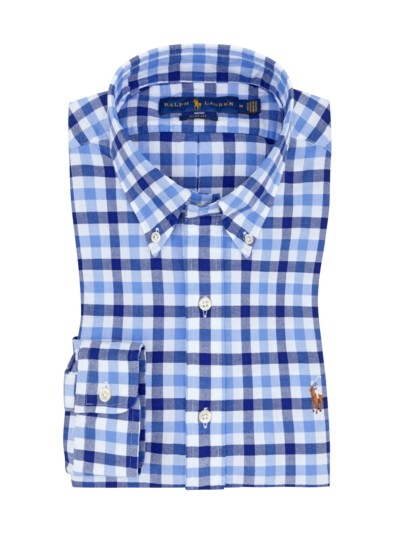 Slim Fit Button-Down-Freizeithemd, kariert in BLAU