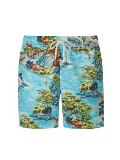 Hawaii-Print Badehose in HELLBLAU