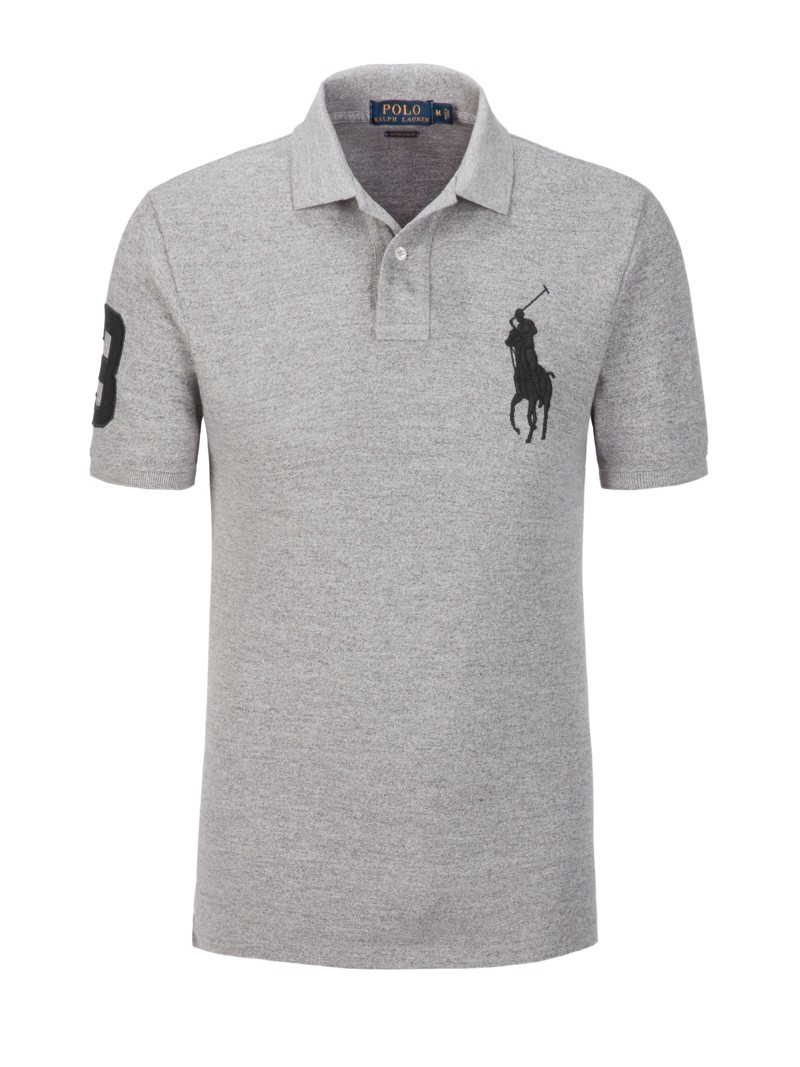 Poloshirt mit Big Pony-Stickerei, Custom Slim Fit in GRAU