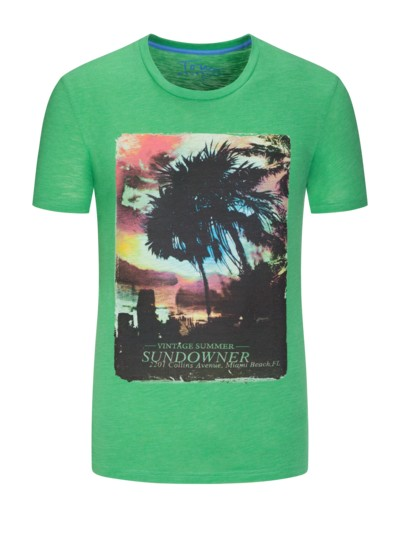 T-Shirt, Vintage Beach Motiv in HELLGRUEN