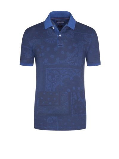 Bandana Print Collection Poloshirt, Slim Fit in MARINE