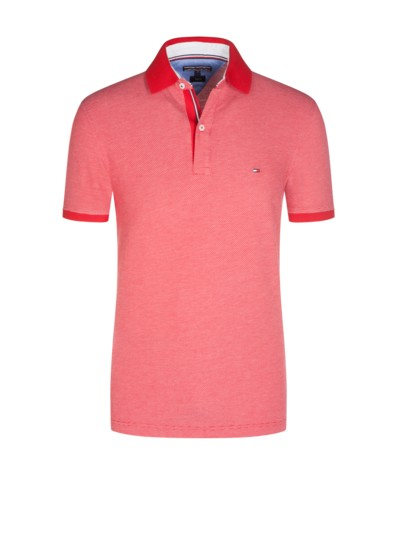 Strukturiertes Jaquard-Poloshirt, Slim Fit in ROT